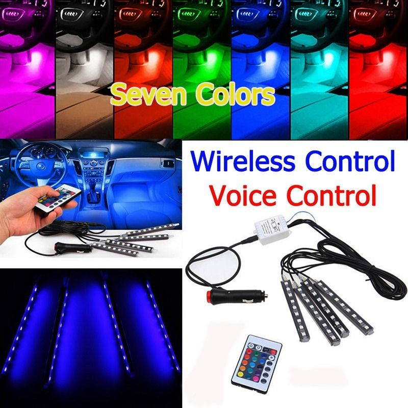 DC 12V 4PCS 9LED Remote Control Car Floor Decorative  Atmosphere Light Lamp Interior Lighting Colorful RGB  <br><br>Aliexpress
