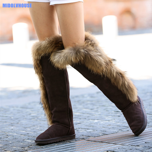 MIDOLVHOUSE women fashion high over knee snow boots real leather and real fur in winter shoes mdv-170005<br><br>Aliexpress