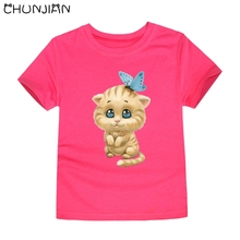 CHUNJIAN cotton kids tops hot selling summer animal t shirts children top short sleeve tshirt lovely cate tees for girls 2-14T