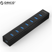 ORICO 7 Port USB 3.0 HUB High Speed ABS With 5V2A Power Adapter for Windows/Vista /7/8/10/Linux/Mac -Black (H7013-U3-AD)(China)