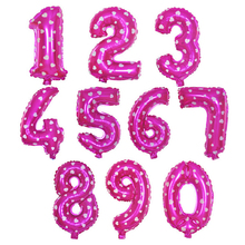 30cm big Pink aluminum foil number balloon digit rose air ballons Vocal concert figure love spot globo Party supply Birthday