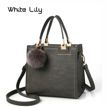 Hot Sale Handbag Women Casual Tote Bag Female Large Shoulder Messenger Bags High Quality PU Leather Handbag With Fur Ball QA(China)