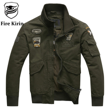 Fire Kirin Bomber Jacket Men 2017 Aeronautica Militare Men Air Force One Mens Jackets And Coats Army Military Pilot Jacket Q110(China)