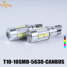 10PCS T10 LED canbus W5W 194 Interior Xenon White LED CANBUS NO OBC ERROR t10 10SMD 5630 5730 with Lens Projector Aluminum