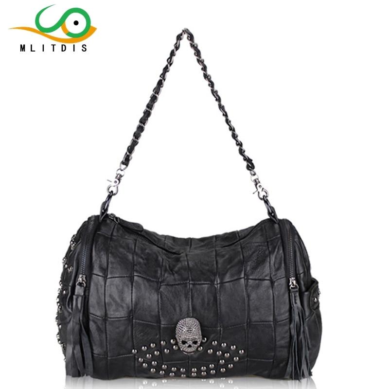 MLITDIS 2017 new handbag Crossbody Korean sheepskin small portable real leather stitching internal spacer chain<br>
