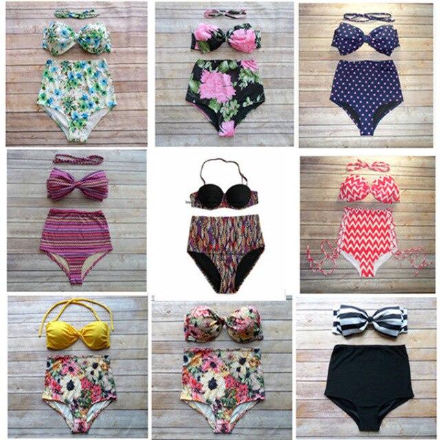 Newest Bow Bandeau Bikini Swimsuit Women Lady Cute Vintage Retro Sexy Zigzag Print High Waisted Swimwear Beachwear Bikini Set<br><br>Aliexpress