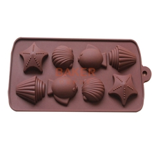 silicone bakeware mold sea shell fish cake baking molds Handmade DIY Chocolate mold Ice Cube SICM-008-11