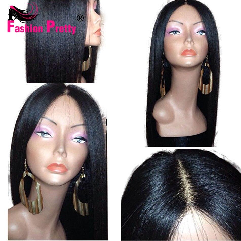 Italian Yaki Straight Human Hair Wigs Brazilian Virgin Lace Front Wigs Glueless Full Lace Human Hair Wigs For Black Women<br><br>Aliexpress