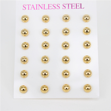 MGUB  12 Pairs dull gold color Stainless Steel Earring Semi-circular 4mm-10mm size selection  LH239