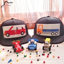 Cartoon Car Kids Mosaics Custom logo Brick Baseball Cap Baby Boy Girl Adjustable Hat Child Snapback Hip Hop Cap 3-9 years old