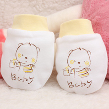 Newborn baby mittens cartoon face anti grasping breathable and warm infant gloves for baby accessories