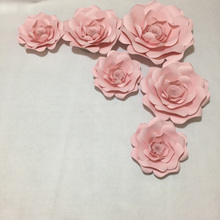 6pcs Baby Pink Giant Paper Flowers for girl's party wedding decor or photo booth backdrop or Wedding backdrops(China)