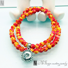 Bracelet necklace amphibious chunky snap button Jewelry Bracelets color yellow&red Bead Bracelets fit 12 mm snap button charms
