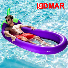 DMAR Inflatable Giant Eggplant Pool Float Mattress 250CM Mat Water Party Toys Sunbathe Bed Swimming Ring Circle Beach Mat(China)