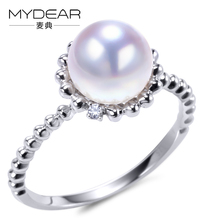 MYDEAR Fine Rings For Women 8mm Akoya Pearl Rings,2016 New White G9K Gold Ring,High Luster,Making Jewelry,Party Decoration(China)