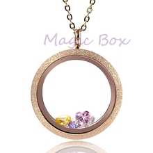 Different color Waterproof  20mm 25mm 30mm Sparkle Locket Pendant  316L Stainless Steel floating charm locket with chain