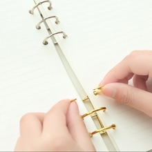 Notebook Loose Practical Leaf Binder 3-Ring gold silver loose-leaf Metal Split Hinged Rings Scrapbooking Binder Album Calendar(China)