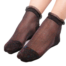 7 Colors Women's Socks Fashion Crystal Silk Lace Socks Women Mesh Shiny Short Socks Transparent Elastic Funny Socks