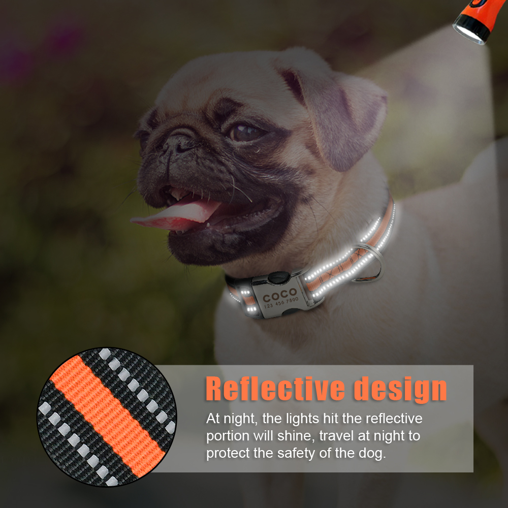 DogsMall-International | Nylon Personalized Dog Collar Engraved ID Tag Nameplate Reflective