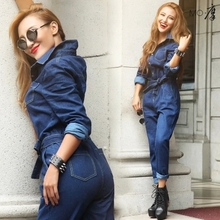 NEW 2017 European jumpsuit rompers womens jumpsuit brand women denim jumpsuit bodysuit plus size jumpsuits(China)