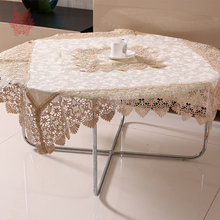 Beige/coffee Table Cloth floral jacquard satin Dining Table Cover with lace patchwork Home Textile round table runner SP2498