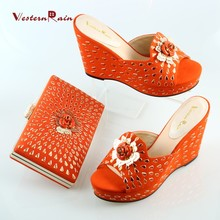 2017 Limited Dames Schoenen Orange&black Sandals And Slippers Handbag Wedges Italian Shoes With Matching Bags Women Set