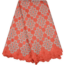 African Lace Fabric Orange Swiss Voile Lace High Quality Emboridery French Mesh 2018 Nigeria Lace Fabric Materil for dress 983(China)