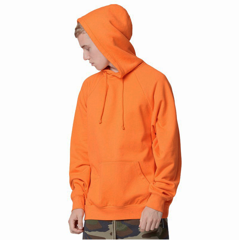 17 fashion color orange hooides men's thick clothes winter sweatshirts men Hip Hop Streetwear solid fleece hoody man Clothing 7