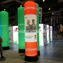 Colorful LED inflatable pillar with digital printing, inflatable column, prism inflatable light tower for advertising