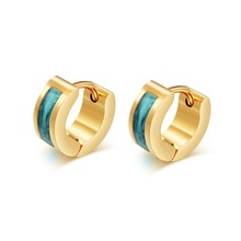 Meaeguet Fashion Gold-Color Stud Earrings Punk Rock Stainless Steel Earrings For Women Men Multicolor Mini Size 4MM Wide