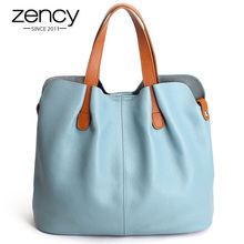 Zency Women Handbag 100% Genuine Leather Ladies Casual Tote Female Shoulder Messenger Large Capacity Shopping Bags - Products Company Limited store