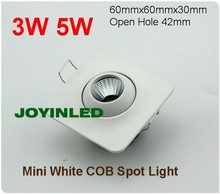 3W 5W 7W COB mini square recessed LED ceiling down lights spot bulb lamps AC85-265V white casing for living cabinet bedroom(China)