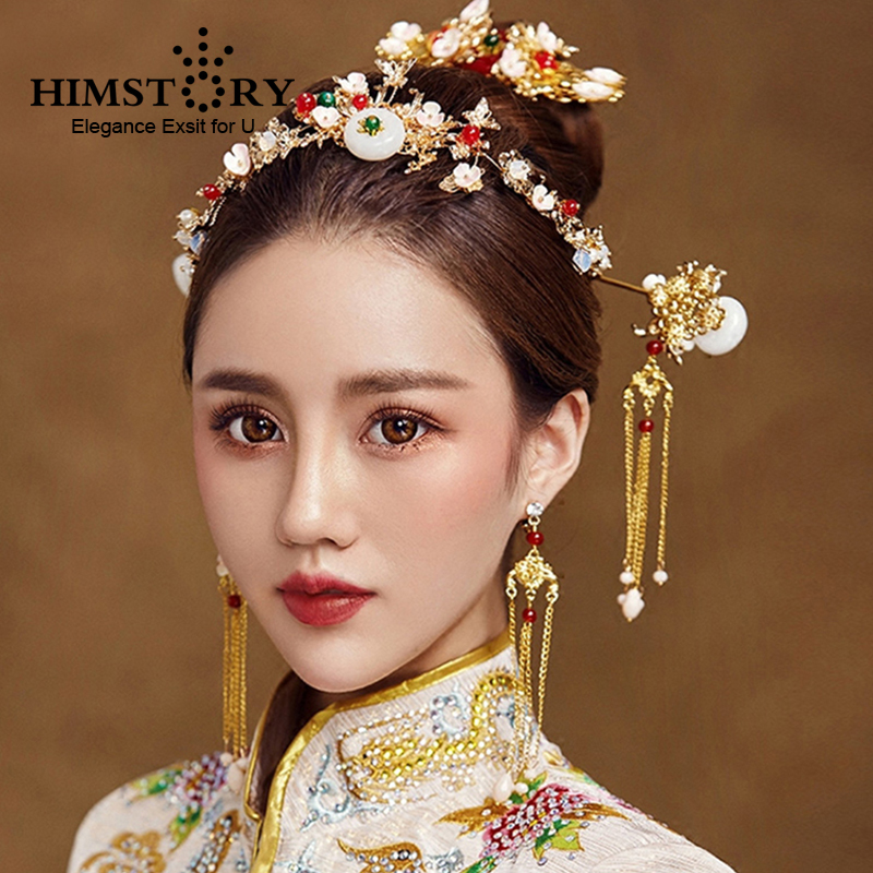 HIMSTORY Traditional Chinese National Wedding Hair Accessories Brides Hairpins Hairstick Earrings Bridal Hairwear Jewelry