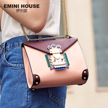 EMINI HOUSE Indian Style Bag Women Messenger Bags Split Leather Crossbody Bags For Women Shoulder Bag Chic Chain Original Design(China)