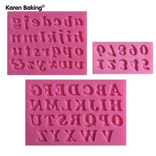 3D English Letters & Numbers Fondant Cake Molds Soap Chocolate Mould For The Kitchen Baking 3pc/set-C243(China)