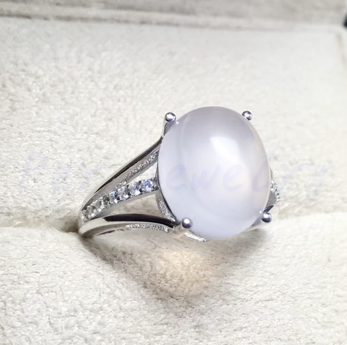White moonstone ring Natural real moonstone 925 sterling silver 3CT gemstone Per jewelry Free shipping #F18051011