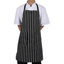 Saingace Adjustable Black Stripe Bib Apron With 2 Pockets Chef Kitchen Cook Tool Drop Shipping Happy Sale ap613