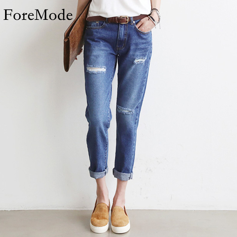 Autumn 2017 Women Jeans Hole Sexy Nine Length Straight Jeans Female Fashion Loose Large Size Womens Jeans PantОдежда и ак�е��уары<br><br><br>Aliexpress