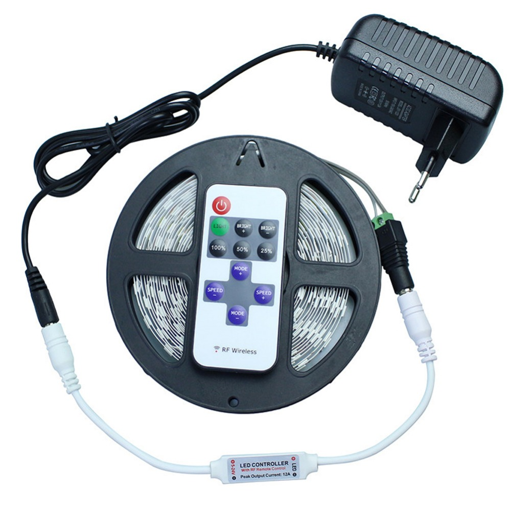 DC12V 5630 5730 5M 300led Flexible LED Strip Light Non-waterproof + 12V 2A Power Adapter + 11Key RF Controller<br><br>Aliexpress