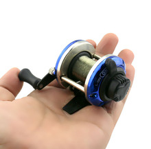 Smallest Bait Casting Mini Ice Fishing Reel with Line 50M Metal Water Wheel Winter Fishing River Plate Baitcast Coil Roller(China)