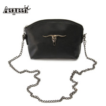 2017 Halloween Women Messenger Bags Cow Skull Chain Vintage Lady Small Bags Leather Crossbody Girls Satchel Flap Shoulder Bag