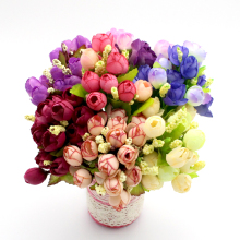 1bundle/lot(15 heads)  small bud roses bract simulation flowers silk rose decorative Flowers for for Wedding 027033027