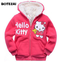 Retail Baby girls Cartoon Hello Kitty Winter fur coat,children outerwear,girls cotton thick warm hoodies jacket kids clothes(China)