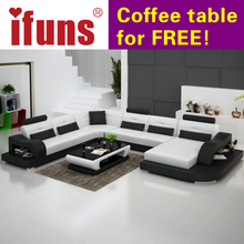 IFUNS white genuine leather luxury sofa sets u shaped cow leather sectional sofa set living room furniture big house (fr)