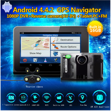 "Best 7"" Car GPS Radar detector 16GB free map Android 4.22 Car Radar detector dvr auto camera G-Sensor with rear view camera"