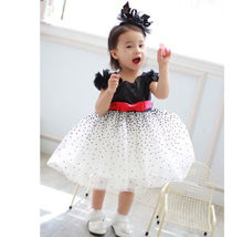 Pudcoco Dress Clothes Baby Girls Kids Black White Ball Gown Cute Summer Starry Sky Dot Petal Sleeve Bow Party Formal Dress 2016(China)