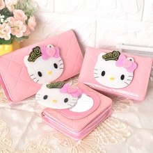 Cute Cartoon Hello Kitty Famous Brand Designer Wallets Magic Mirror Women Leather Purse For Girls Clutch Purse Lady Party Wallet(China)