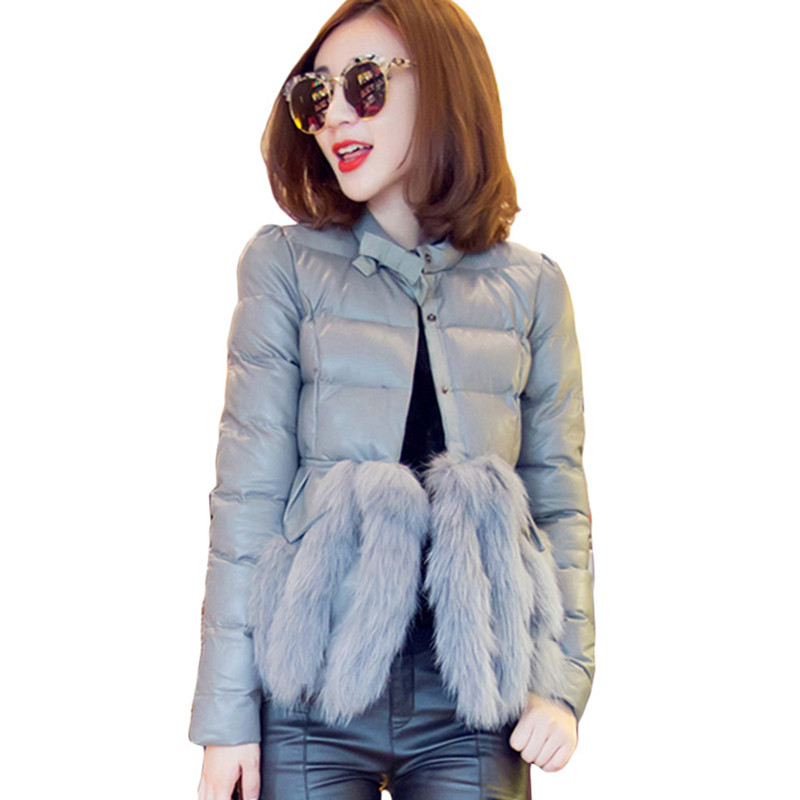 2017 New Large Size Mujer Lady Fashion PU Winter Jacket with Fur Coat Women Parka Short Padded Jackets and Coats casaco femininoОдежда и ак�е��уары<br><br><br>Aliexpress