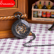 2017 New Steampunk Skeleton Mechanical Black Open Face Retro Pendant Pocket Watch Gift High Quality Cool Clothes Watch PW144