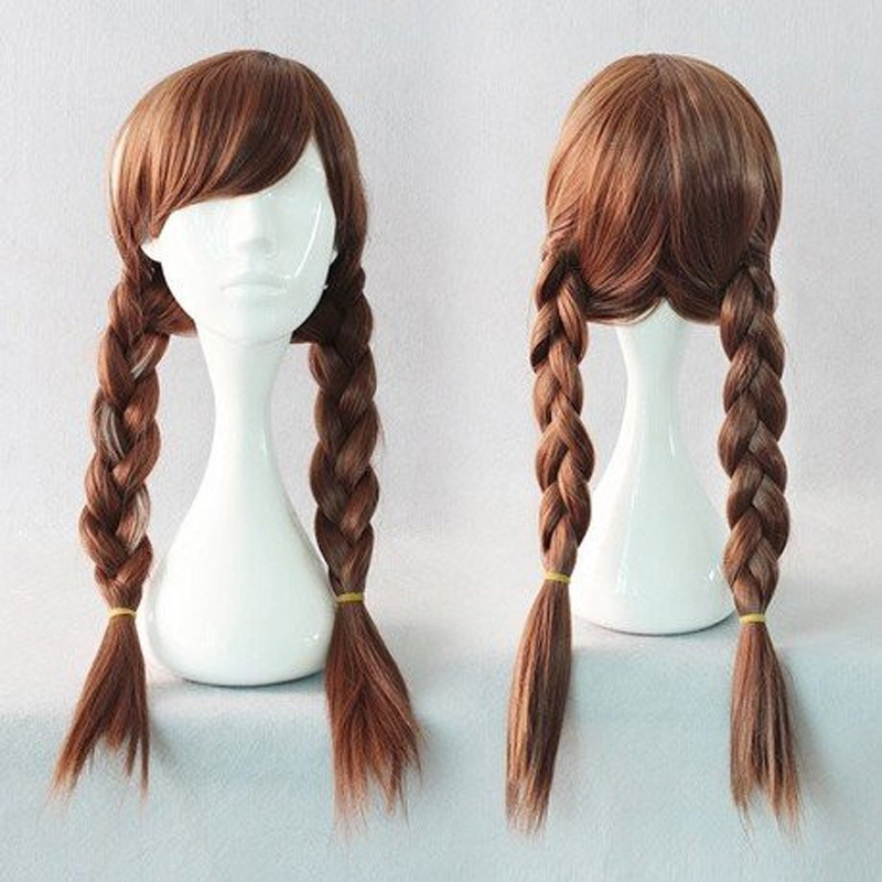HAIRJOY Popular  Long Braided 70CM Synthetic Wig Heat Resistant Brown Ponytail Weave Head Hair  Wigs Adult Princess Anna Cosplay<br><br>Aliexpress